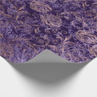 Papel De Presente Cora o veludo roxo violeta floral do ouro do rosa