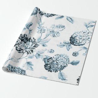 Papel De Presente Cora o vintage azul & branco Toile floral botânico