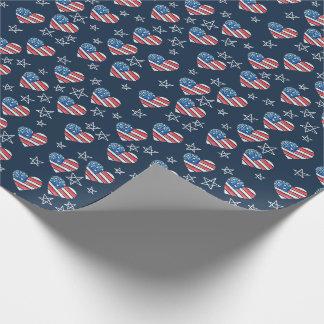 Papel De Presente Coração da bandeira americana
