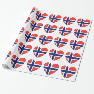 Papel De Presente Coração norueguês da bandeira do escandinavo de