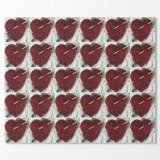 Papel De Presente Coração vermelho de lãs na fotografia do latido de