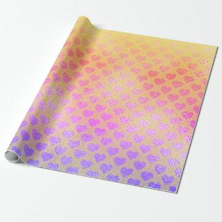 Papel De Presente Corações amarelos cor-de-rosa metálicos do brilho
