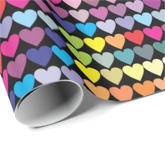 Papel De Presente Corações coloridos do arco-íris
