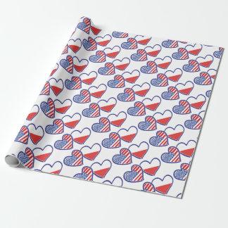 Papel De Presente Corações da bandeira do Polônia dos EUA