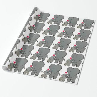 Papel De Presente Corações do elefante - um amor de Unforgetable