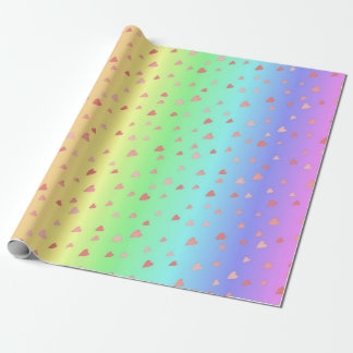 Papel De Presente Corações minúsculos no papel Pastel do envoltório