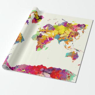 Papel De Presente cores do mapa do mundo