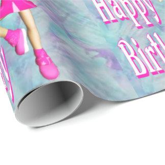 Papel De Presente Cores Pastel de feliz aniversario do cheerleader