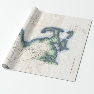Papel De Presente Costa do vintage do mapa de Nova Inglaterra Cape