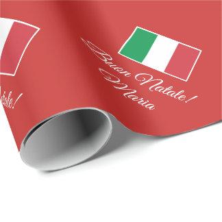 Papel De Presente Costume italiano do feriado do Natal da bandeira