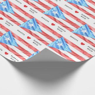 Papel De Presente Costume mim bandeira do coração de Puerto Rico