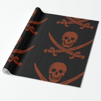 Papel De Presente Crânio de sorriso simples do pirata com espadas