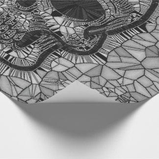 Papel De Presente Crânio de vidro do mosaico, branco preto