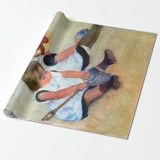 Papel De Presente Crianças de Mary Cassatt que jogam na praia