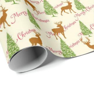 Papel De Presente Cumprimentos do Feliz Natal com renas e pinho