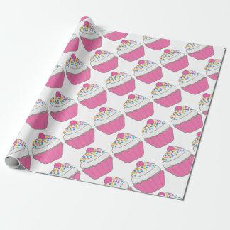 Papel De Presente Cupcake cor-de-rosa