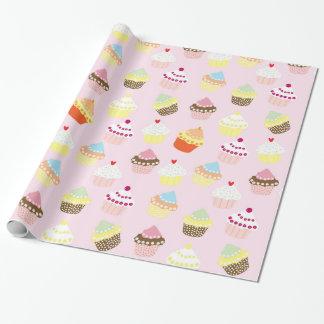 Papel De Presente Cupcakes no rosa