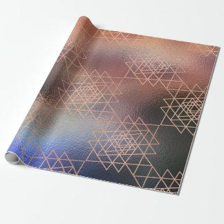 Papel De Presente Da geometria metálica do hexágono do ouro do rosa