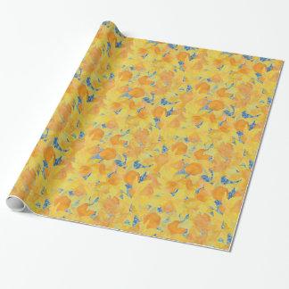 Papel De Presente Daffodils amarelos dourados no fundo azul