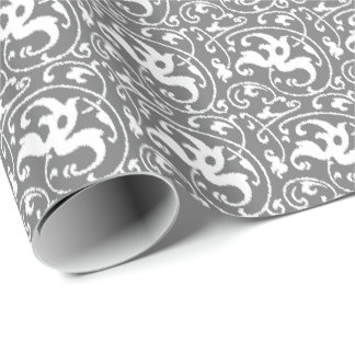 Papel De Presente Damasco floral de Ikat - cinza/cinza e branco