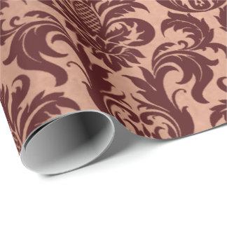 Papel De Presente Damasco marrom de Borgonha do cobre cor-de-rosa