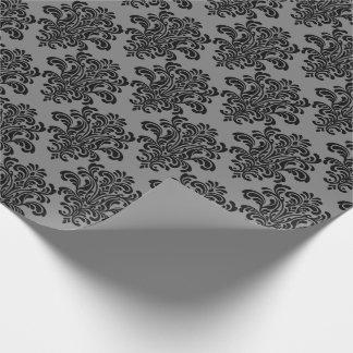 Papel De Presente Damasco preto no teste padrão elegante cinzento