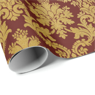 Papel De Presente Damasco real Borgonha marrom floral do ouro
