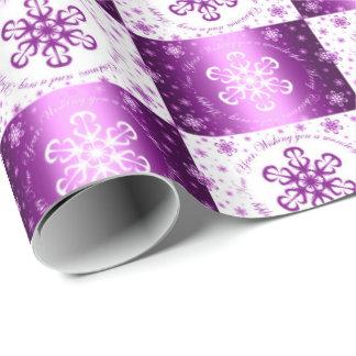 """Papel De Presente """"Desejando lhe o Feliz Natal"""" roxo & branco"""
