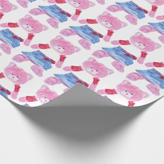 Papel De Presente Desenho cor-de-rosa do urso de ursinho