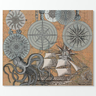 Papel De Presente Desenho do impressão da arte do polvo do rosa de