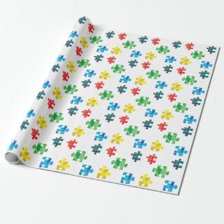 Papel De Presente Design colorido da parte do quebra-cabeça