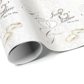 Papel De Presente Design da aliança de casamento dos noivos