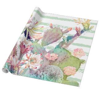Papel De Presente Design do cacto, o floral e das listras da