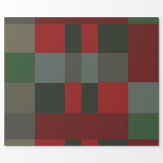 Papel De Presente Design do Taupe da xadrez do falso do Natal do