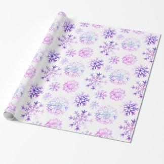 Papel De Presente Design roxo do Natal do floco de neve da aguarela