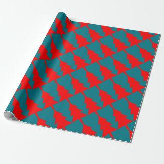 Papel De Presente Design vermelho da árvore de Natal
