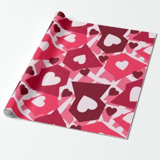 Papel De Presente Dia dos namorados cor-de-rosa & vermelho dos