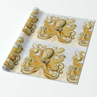 Papel De Presente Dia dos pais náutico pintado do calamar de Kraken
