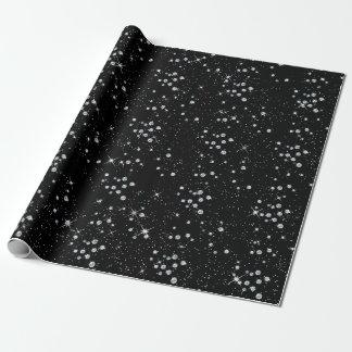 Papel De Presente Diamantes pretos crepusculares Sparkly da prata do
