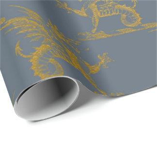 Papel De Presente Do ouro do dragão rei real Cinza Azul Heráldico