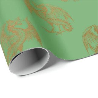 Papel De Presente Do ouro do dragão rei real Hortelã Verde Heráldico