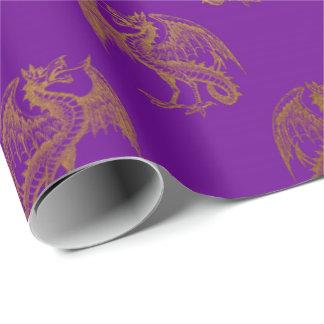 Papel De Presente Do ouro do dragão rei real Roxo Ameixa Heráldico