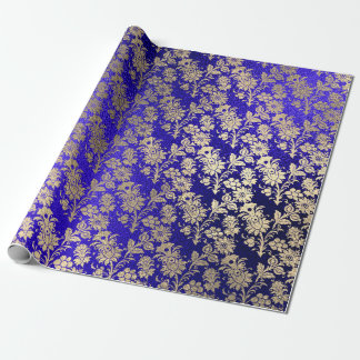 Papel De Presente Do pó floral azul do ouro de Cobal do índigo mais