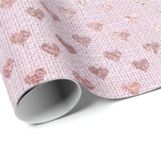 Papel De Presente Do rosa Pastel do rosa do ouro dos confetes do