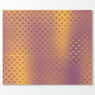 Papel De Presente Dos corações de bronze do ouro da mostarda