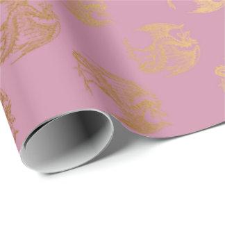 Papel De Presente Dragão Fenix do ouro do rosa da princesa rosa