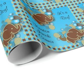 Papel De Presente É um elefante do bebê do menino     azul & xadrez
