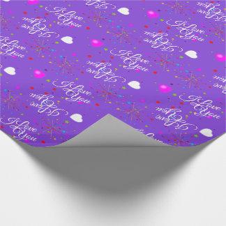 Papel De Presente Editável eu te amo na violeta (ou na sua cor)