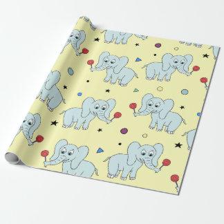 Papel De Presente Elefante com aniversário amarelo do miúdo do