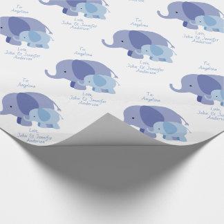 Papel De Presente Elefante dos azuis bebés